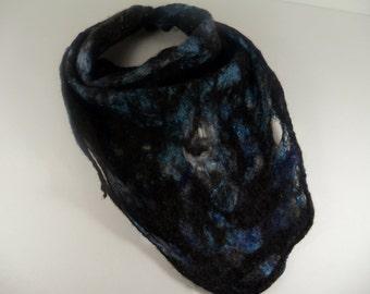 Wet Felted Wool / Silk Bandanna Cowl