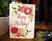 Happy Birthday – Floral Colorful watercolor illustration - hand painted and lettered Bday flower card