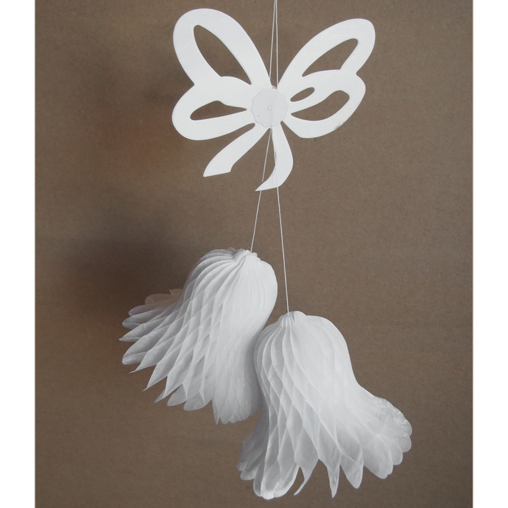 Kissing Wedding Bell With Hanging Bow Honeycomb Decor 17 Inch
