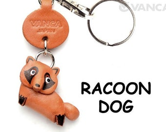 Raccoon dog 3D Leather Animal Keychain Keyring Purse Charm Zipper pull Accessory *VANCA* Made in Japan #56218  Free Shipping
