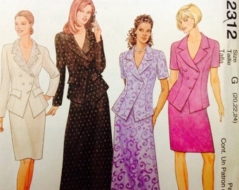 McCall's 2312 UNCUT Misses Lined Jacket, Slim Skirt, and A-Line Skirt