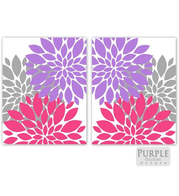 purple pink gray flower bursts wall art set botanical art 2. Black Bedroom Furniture Sets. Home Design Ideas