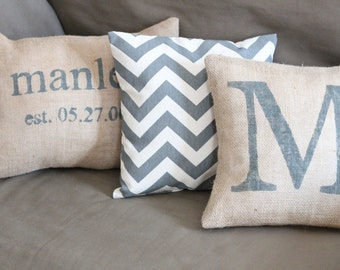 Personalized Burlap Pillow cover - Initial Pillow Cover, farmhouse, rustic, cottage chic, wedding gift, monogram, handpainted