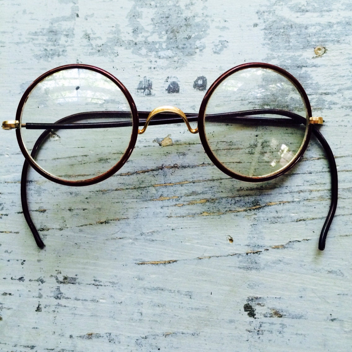 Eyeglass Frame Earpiece : Vintage Round Frame Glasses // MH Harris Wire Rim Earpiece