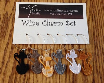 Cat Kitty Wine Charm Set