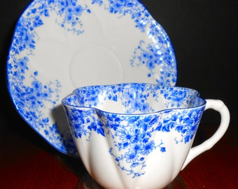 Shelley China Dainty Blue Cup and Saucer