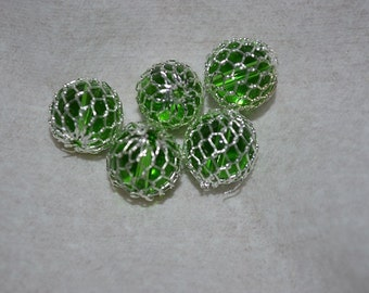 Silver plated Mesh Wrapped Peridot Glass Beads