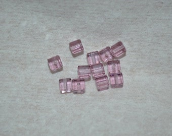 12 - 5601 - 4mm Genuine Swarovski Crystal Cube Beads - Lt Amethyst