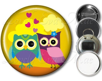 Colorful Owl Pocket Mirror, Owl Compact Mirror, Owl Magnet, Owl Bottle Opener Key Ring, Owl Keychain, Owl Pin, Owl Button, Yellow