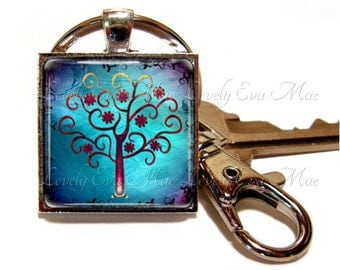 Tree of Life Keychain, Tree Key Chain, Blue Key Ring, Curly Tree Key Fob, Blue Keychain, Keychain with Clip, Key Fob with Clasp
