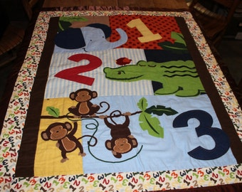 Baby Quilt - Brown and green - Alligator, Monkey & Elephant