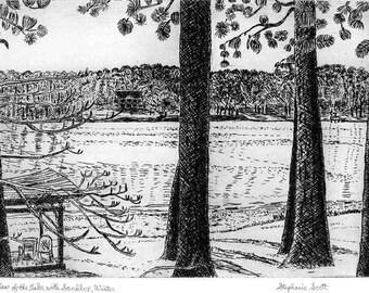 View of Lake with Sandbox - Original Intaglio Etching & Engraving, Hand-printed