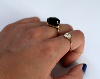 Simple Black & Gold Wire Wrapped Ring