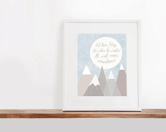 He Will Move Mountains Printable Art, 8x10 inches, Nursery Art, Watercolor Art Print