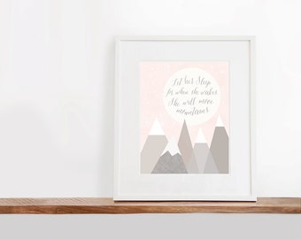 She Will Move Mountains Printable Art, 8x10 inches, Nursery Art, Watercolor Art Print