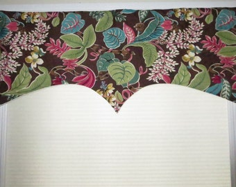 FLORAL VALANCE, brown window valance, shaped window treatment, flower multicolor valance