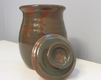 Attractive Wheel Thrown Green Glazed Lidded Jar by Messy Girl Pottery