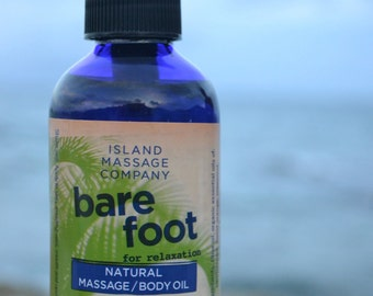 BAREFOOT 100% Natural & Organic Massage/Body Oil for Relaxation