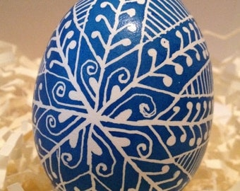 Blue and white whimsical Pysanky egg