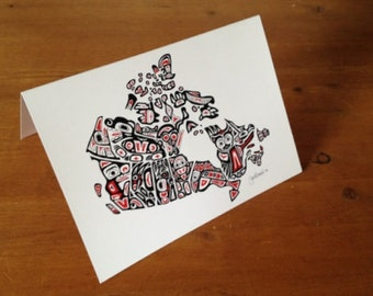 GREETING CARD or POSTCARD of 'Our Home and Native Land' - Canadian First Nations Northwest Coast Style, Art Map of Canada - 5x7 inches