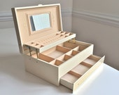 Vintage MELE Ivory Jewelry Box Leatherette Organizer with 3-tier Gold Accents Auto-matic drawer