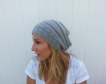 Free Shipping Women's Slouchy Gray Beanie Hat