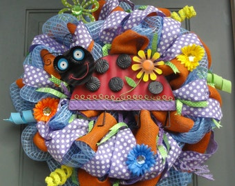 Ladybug Wreath, Lady Bug Wreath, Summer Wreath, Spring Wreath, Whimsical Wreath, Mothers Day Gift