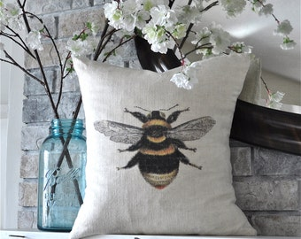 "Bumblebee on 100% Linen Pillow Cover 18"" x 18"""
