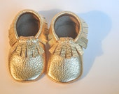 Gold Leather Baby / Toddler  Moccasins Metallic