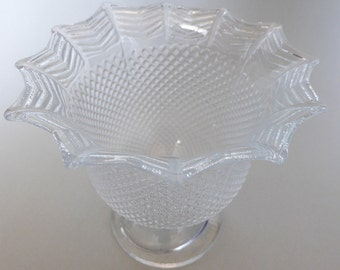 SALE: Vintage Art Deco Compote ~ Depression Glass ~ Pressed Glass ~ Diamond Waffle Pattern ~ Vintage Decor ~ Fluted Vase ~ Classic Design