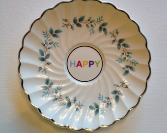 HAPPY altered vintage plate