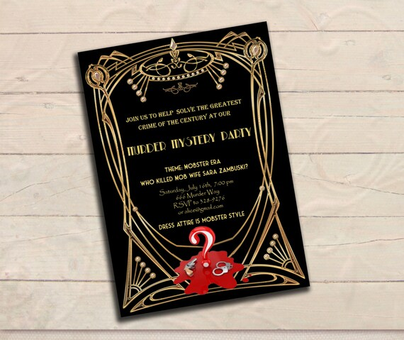 Murder mystery great gatsby inspired party invitation black like this item stopboris Image collections