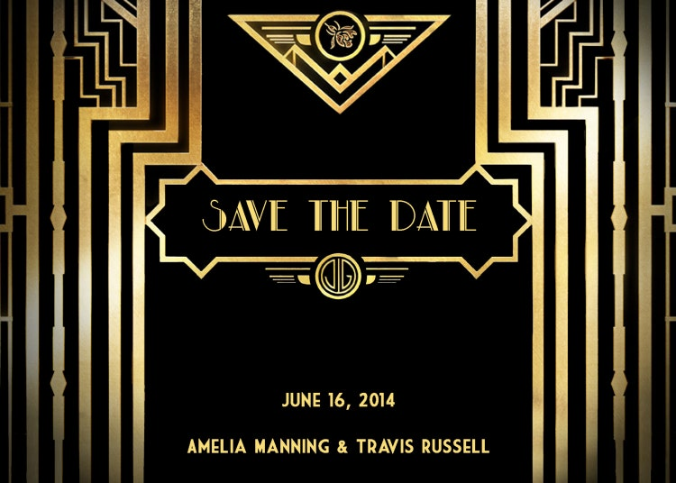Great Gatsby Style Art Deco Save the Date Card by StudioDMD