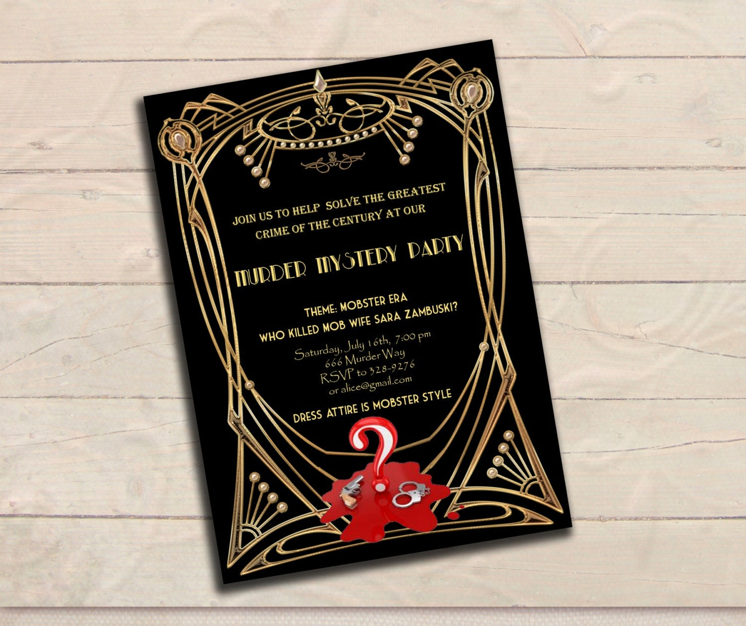 Murder Mystery Great Gatsby Inspired Party Invitation – Black and ...