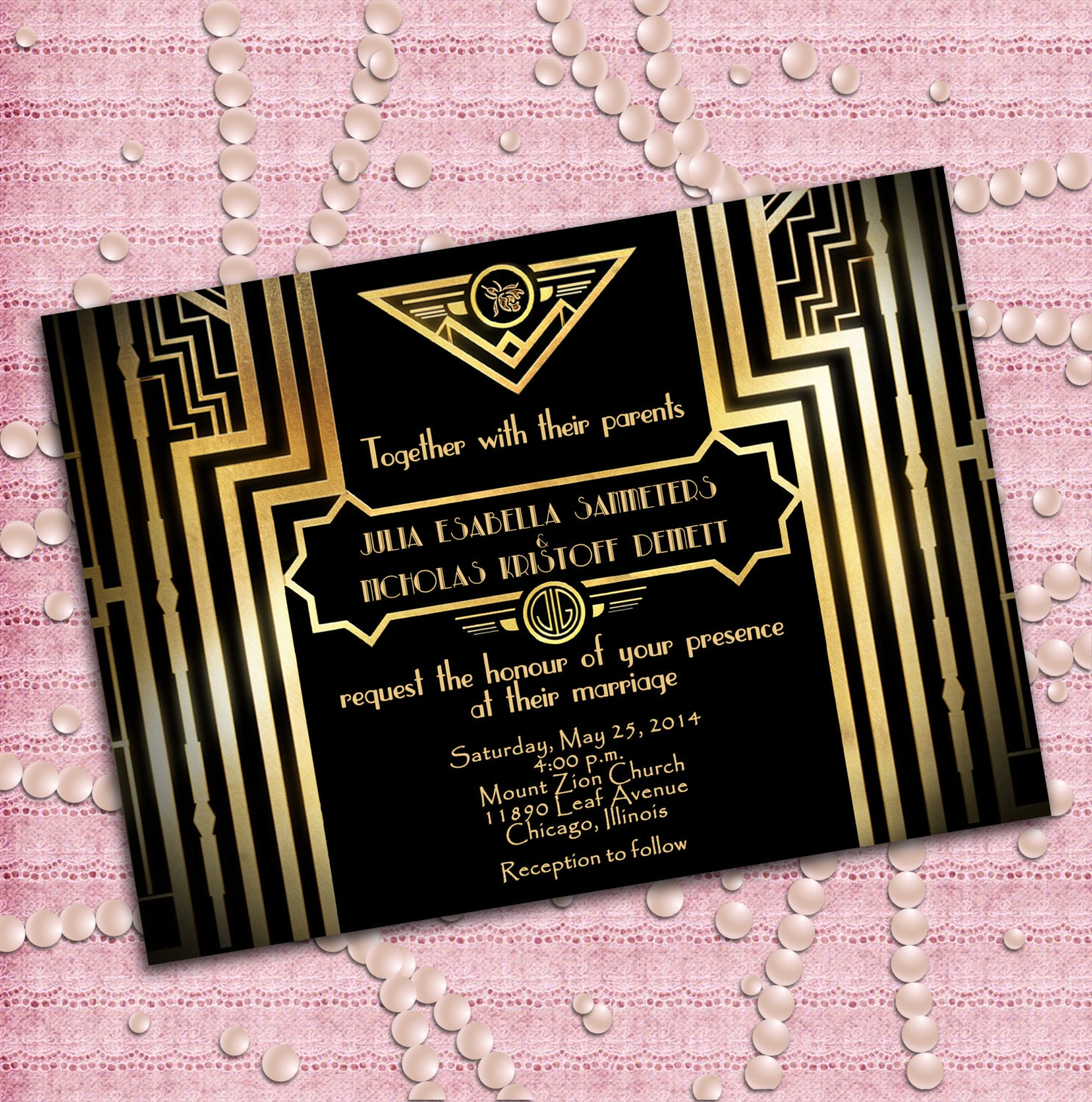 Great Gatsby Style Art Deco Wedding Invitation 1920 39 S
