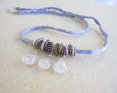 Silk Cord Necklace, Moonstone Briolettes, Gray Silk Cord, Mixed Metals