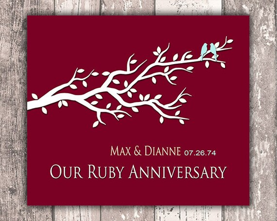 Gifts For Ruby Wedding: Ruby Anniversary Art Print Personalized By Moonlightgraphics