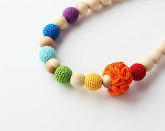 Bright Rainbow Necklace for Mom -Teething Necklace- Rainbow nursing breastfeeding necklace -Nursing Necklace