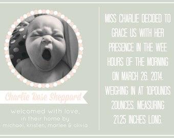 DIY Customizable Printable Solid Birth Announcement / Homebirth Announcement