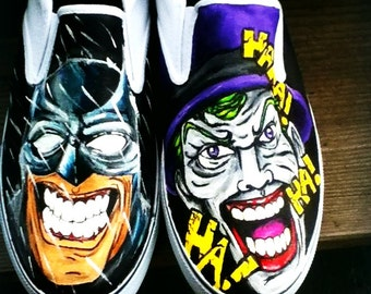 Custom Hand Painted Batman and Joker Shoes