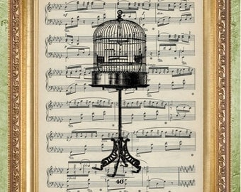 Birdcage Art Print Sheet  Music Art Print Wall Decor Vintage Dictionary Print Dictionary Prints Book Page Art