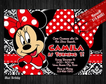 Minnie Invitations, Minnie invites for Minnie Mouse Birthday - Damask
