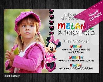 Minnie Invitation for Minnie Birthday - DIGITAL Minnie birthday invitation with photo