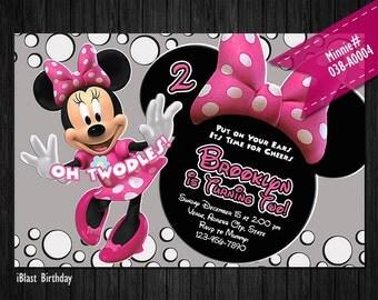 Minnie Mouse Invitation for Minnie Birthday - DIGITAL Minnie invitation, Minnie invite with pink polka dots