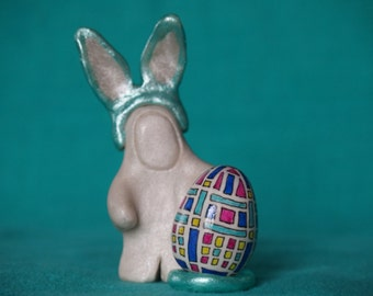 Miniature bunny with Easter egg sculpture, miniature decorated Easter egg, handmade Easter bunny with Easter egg, aqua and white