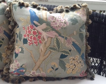"GP and J Baker ""Hydrangea Bird""  Pillow Cover with robins egg blue Floral Linen-"