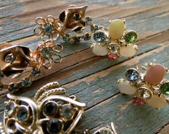 3 Pair Vintage Rhinestone Earrings