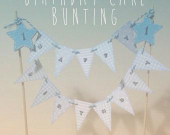 Blue children's birthday cake bunting