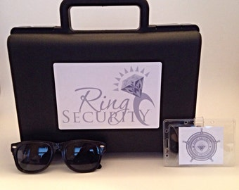 Ring Security Briefcase, Badge and Sunglass Set (silver) -- ringbearer gift, ring agent, ring bearer, bling security, pillow alternative