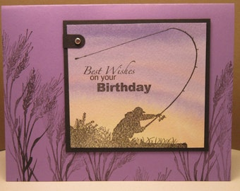 Fisherman Silhouette Handmade Birthday Card